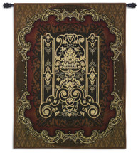 Filigree Medallion - Woven Tapestry Wall Art Hanging For Home Living Room & Office Decor - Damask Decorative And Elaborate Scroll With Tricare Radiating Pattern Artwork - 100% Cotton - USA Wall Tapestry