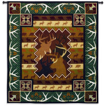 Antlers   Woven Tapestry Wall Art Hanging   Silhouetted Majestic Forest Wildlife Pattern Cabin Lodge Decor   100% Cotton USA Size 59x53 Wall Tapestry