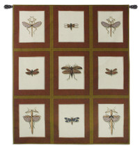Entomological Nine Study | Woven Tapestry Wall Art Hanging | Vintage Earthy Insect Study Panels | 100% Cotton USA Size 74x64 Wall Tapestry