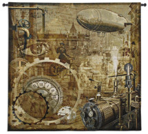 Steampunk | Woven Tapestry Wall Art Hanging | Engine Powered Victorian Industrial City | Woven Tapestry Wall Art Hanging | 100% Cotton USA Size 53x51 Wall Tapestry