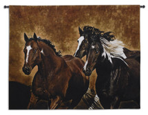 Ready To Run By Robert Duncan - Woven Tapestry Wall Art Hanging - Three Horses Gallop In Dusty Earth Tones Of Western Equine Artwork - 100% Cotton - USA 53x65 Wall Tapestry