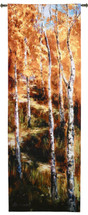 Fine Art Tapestries Autumn Birch Path Hand Finished European Style Jacquard Woven Wall Tapestry  USA Size 76x26 Wall Tapestry