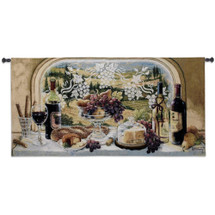 Harvest Celebration by Janet Kruskamp | Woven Tapestry Wall Art Hanging | Decadent Autumn Feast Still Life on Vineyard Hillside | 100% Cotton USA Size 64x31 Wall Tapestry