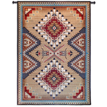 Brazos Tapestry - Woven Tapestry Wall Art Hanging - Rustic Geometric Southwestern Pattern Native American Blues Maroon And Earth Tones - 100% Cotton - USA 76X53 Wall Tapestry