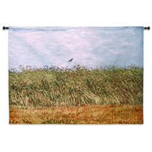 Wheat Field with a Lark by Vincent van Gogh | Woven Tapestry Wall Art Hanging | Serene Post-Impressionist Windy Landscape Masterpiece | 100% Cotton USA Size 53x38 Wall Tapestry