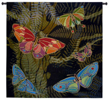 Woodland Butterfly by Julianna James | Woven Tapestry Wall Art Hanging | Colorful Textured Nature Mosaic Artwork | 100% Cotton USA Size 53x53 Wall Tapestry