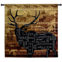 Nature's Calling by Julianna James | Woven Tapestry Wall Art Hanging | Silhouette Deer Stag Elk Bear Nature Camping Word Cloud Hopi Indian Patterns | 100% Cotton|USA 51X53 Wall Tapestry