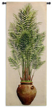 Potted Palm I By Julianna James - Woven Tapestry Wall Art Hanging - Realistic Potted Palm Terra Cotta Urn Vase Nature Floral - 100% Cotton - USA 79X31 Wall Tapestry