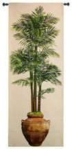 Potted Palm Ii By Julianna James - Woven Tapestry Wall Art Hanging - Realistic Potted Palm Terra Cotta Urn Vase Nature Floral Themed Artwork - 100% Cotton - USA 79X31 Wall Tapestry
