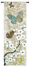 Spring Unveiling by Morgan Yamada | Woven Tapestry Wall Art Hanging | Asian Themed Textured Flowering Tree with Butterflies | 100% Cotton USA Size 57x20 Wall Tapestry
