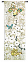 Spring Unfolding By Morgan Yamada - Woven Tapestry Wall Art Hanging For Home Living Room & Office Decor - Asian Tree Blossoms With Butterflies - 100% Cotton - USA 57X20 Wall Tapestry