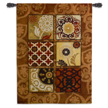 Suzani Spice - Woven Tapestry Wall Art Hanging For Home Living Room & Office Decor - Gypsy Suzani Motif With Decorative Persian Flower Motifs And Patterns - 100% Cotton - USA 60X44 Wall Tapestry