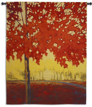 Fire Maple by J. Charles | Woven Tapestry Wall Art Hanging | Contemporary Vibrant Autumn Tree on Deserted Landscape | 100% Cotton USA Size 68x53 Wall Tapestry