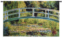 Le pont Japonais a Giverny by Claude Monet | Woven Tapestry Wall Art Hanging | Japanese Foot Bridge over Lily Pond | 100% Cotton USA Size 63x39 Wall Tapestry