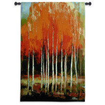 Morning Whisper By Peter Colbert - Woven Tapestry Wall Art Hanging - Autumn Birch Trees Featured In Fiery Colorful Splendor - 100% Cotton - USA 53X34 Wall Tapestry