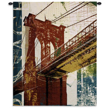 Into Manhattan II by Noah Li-Leger | Woven Tapestry Wall Art Hanging | Abstract Industrial Brooklyn Bridge Artwork | 100% Cotton USA Size 38x31 Wall Tapestry