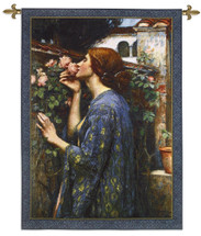 The Soul of the Rose by John William Waterhouse | Woven Tapestry Wall Art Hanging | Classical Floral Lady with Roses and Lilies | 100% Cotton USA Size 43x31 Wall Tapestry