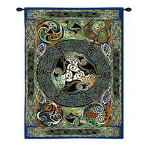 Ravens Panel by Jan Delyth | Woven Tapestry Wall Art Hanging | Celtic Knots and Weaves Druid Spiritual Artwork | 100% Cotton USA Size 73x53 Wall Tapestry