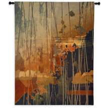 Superstition | Woven Tapestry Wall Art Hanging | Abstract Browns with Fiery Oranges | 100% Cotton USA Size 69x53 Wall Tapestry