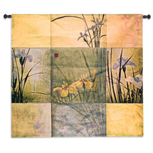 Don Li-Leger - Woven Tapestry Wall Art Hanging For Home Living Room & Office Decor - Contemporary Irises Golds Asian Fusion Abstract Watercolor Themed Artwork - 100% Cotton - USA Size Wall Tapestry