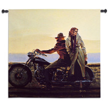 Coastal Ride by Brent Lynch | Woven Tapestry Wall Art Hanging | Classic Motorcycle Beach Trip | 100% Cotton USA Size 31x31 Wall Tapestry