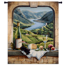 Rhine Wine Moment by Barbara Felisky | Woven Tapestry Wall Art Hanging | European River Valley with Wine Still Life | 100% Cotton USA Size 53x42 Wall Tapestry