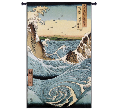 Awa Province Stormy Sea at the Naruto Rapids - Famous Places of The Sixty Provinces by Ando Hiroshige Woven Tapestry Wall Art Hanging for Home & Office - Japanese Woodblock - Cotton - USA 53X32 Wall Tapestry