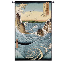 Awa Province Stormy Sea At The Naruto Rapids From Famous Places Of The Sixty Provinces By Ando Hiroshige Woven Tapestry Wall Art Hanging For Home Living Room & Office Decor-Woodblock Style Japanese Artwork-100% Cotton - USA 53X32 Wall Tapestry