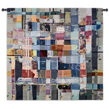 Tribulation - Woven Tapestry Wall Art Hanging - Cool Colors Angular Abstract Madras Plaid Denim Overtone Modern Madras Design Blues And Grays - 100% Cotton - USA 85X53 Wall Tapestry