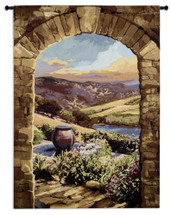 Tuscan Afternoon - Woven Tapestry Wall Art Hanging - Tuscan Countryside Arch Mountain Vignette Villa Warm Earth Tones - 100% Cotton - USA 59X44 Wall Tapestry