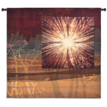 Audition | Woven Tapestry Wall Art Hanging | Abstract Vibrant Tree Silhouettes | 100% Cotton USA Size 85x53 Wall Tapestry
