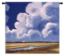 Glendale Creek | Woven Tapestry Wall Art Hanging | Impressionist Cumulus Clouds over Farmland Pasture | 100% Cotton USA Size 31x31 Wall Tapestry