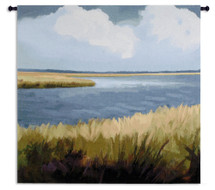 Low Country Impressions by Sarah Simpson | Woven Tapestry Wall Art Hanging | Marshy Landscape Soothing Seagrass Shore | 100% Cotton USA Size 53x52 Wall Tapestry