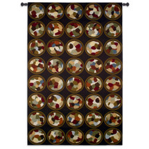 Rhythmic Circles By Sarah Simpson - Woven Tapestry Wall Art Hanging For Home Living Room & Office Decor - Large Scale Chocolatey Abstract Contemporary Circles Random Patterns - 100% Cotton - USA 85X53 Wall Tapestry