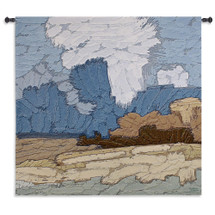 Plantation - Woven Tapestry Wall Art Hanging - Abstract Landscape Chalky Blues Greens Woven Chunky Strokes Depicting Textured Artwork - 100% Cotton - USA 85X53 Wall Tapestry