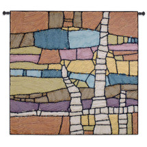 Procession by Julianna James | Woven Tapestry Wall Art Hanging | Rustic Contemporary Colorful Mosaic Design | 100% Cotton USA Size 85x53 Wall Tapestry