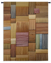 Expectation | Woven Tapestry Wall Art Hanging | Contemporary Stroked Wooden Blocks | 100% Cotton USA Size 71x53 Wall Tapestry