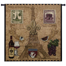Paris with Love by Acorn Studios | Woven Tapestry Wall Art Hanging | French Vintage Iconic Symbols on Eiffel Tower Background | 100% Cotton USA Size 53x53 Wall Tapestry