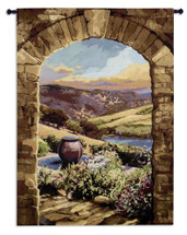 Tuscan Afternoon | Woven Tapestry Wall Art Hanging | Rich Italian Countryside through Stone Arch | 100% Cotton USA Size 59x44 Wall Tapestry