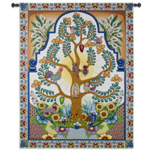 Arboles De La Vida - Woven Tapestry Wall Art Hanging For Home Living Room & Church Decor - Latin Cultural Tree Of Life Featured Mother Mary Ornate Floral Christian Artwork - 100% Cotton - USA 68X52 Wall Tapestry