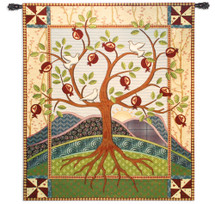Roots and Wings by Acorn Studios | Woven Tapestry Wall Art Hanging | Folk Inspired Pomegranate Tree of Life with Rich Textile Elements | 100% Cotton USA Size 62x53 Wall Tapestry