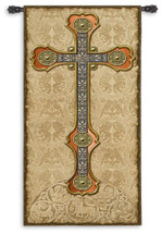 Vertical Cross | Woven Tapestry Wall Art Hanging | Medieval Gothic Spiritual Artwork with Metal and Wooden Tones | 100% Cotton USA Size 60x26 Wall Tapestry