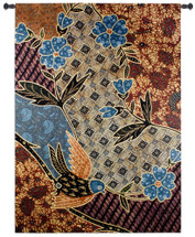 Batik Floral by Sarah Simpson | Woven Tapestry Wall Art Hanging | Vibrant Indonesian Style Pattern Flower Artwork | 100% Cotton USA Size 75x53 Wall Tapestry