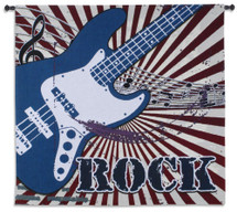Electric Rock Tapestry | Woven Tapestry Wall Art Hanging | Contemporary Musical Guitar Design | 100% Cotton USA Size 44x44 Wall Tapestry