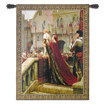 A Little Prince Likely In Time To Bless A Royal Throne by Edmund Leighton - Woven Tapestry Wall Art Hanging for Home & Office Decor - Pre-Raphaelite Romantic Medieval War of Roses - Cotton - USA Wall Tapestry