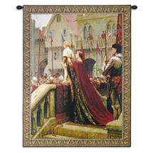 A Little Prince Likely In Time To Bless A Royal Throne By Edmund Blair Leighton - Woven Tapestry Wall Art Hanging - Pre-Raphaelite Romantic Medieval War Of Roses Theme - 100% Cotton - USA 38X31 Wall Tapestry