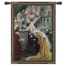 A Kiss by Edmund Blair Leighton   Woven Tapestry Wall Art Hanging   Medieval Scottish Royal Palace Scene   100% Cotton USA Size 53x37 Wall Tapestry