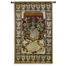 Armes of Kings - Woven Tapestry Wall Art Hanging for Home & Office Decor - Watercolor Inspired To Textile Crests of Commoner Being Granted His Coat of Arms Medieval - 100% Cotton - USA 63X39 Wall Tapestry