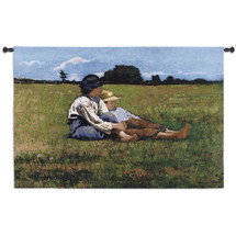 Fine Art Tapestries Boys in a Pasture Hand Finished European Style Jacquard Woven Wall Tapestry  USA Size 30x53 Wall Tapestry