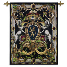 Crest On Black I -Woven Tapestry Wall Art Hanging For Home Living Room & Office Decor - Classic Coat Of Arms Heraldic Crest Medieval Lion Crown Classical Artwork With Dark Earth Tones - 100% Cotton - USA Wall Tapestry